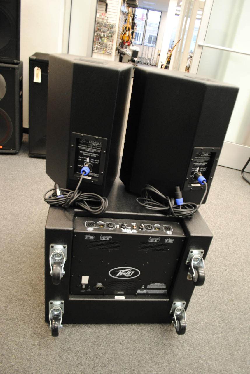 peavey tri flex ii 1000 watt 3 piece active speaker system sub 2 satellites ebay. Black Bedroom Furniture Sets. Home Design Ideas